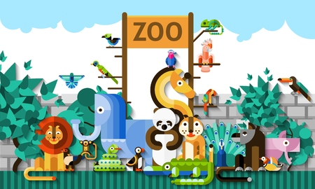 forest symbol: Zoo background with colorful paper african jungle animals and birds vector illustration Illustration