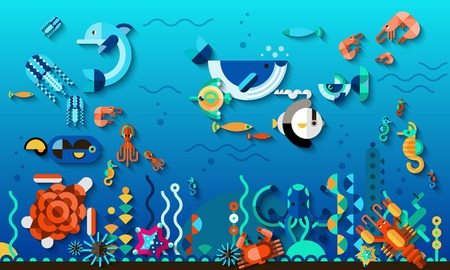 Tropic lagoon underwater world life concept with bright exotic sea fishes vector illustration Çizim