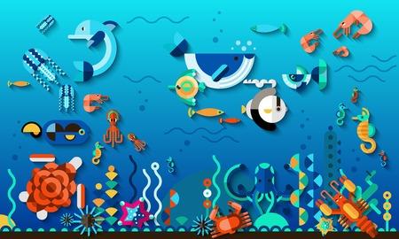 peces de acuario: Tropic laguna concepto de vida mundo submarino con brillante ex�ticos peces de mar ilustraci�n vectorial