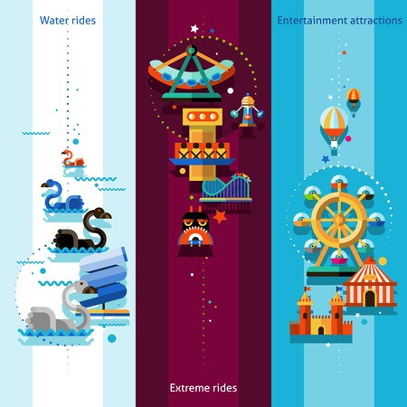 rides: Amusement park vertical banners set with water extreme rides and entertainment attractions elements isolated vector illustration