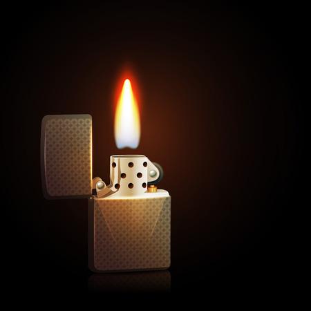 encendedores: Realista gasolina encendedor de plata con la llama ardiente sobre fondo oscuro ilustración vectorial