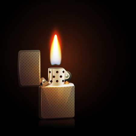 lighter: Realistic silver gasoline lighter with burning flame on dark background vector illustration