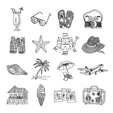 dive trip: Summer vacation travel black graphic icons set with sun palm beach and martini isolated doodle vector illustration