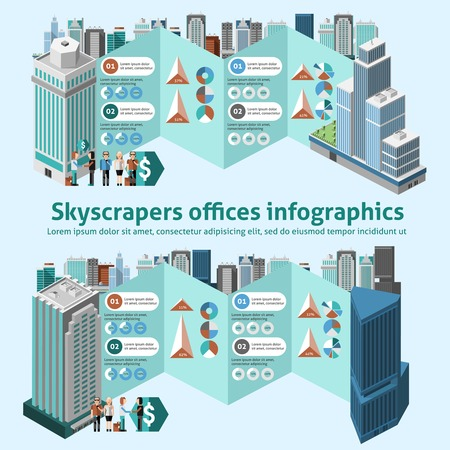 company building: Skyscraper offices infographics with 3d isometric high buildings and charts vector illustration Illustration