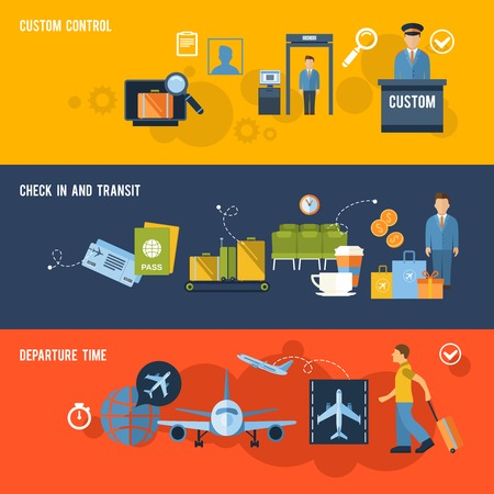 Airport banner set with custom control check in and transit departure time isolated vector illustration