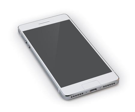 Realista dispositivo de teléfono inteligente gris 3d aislado en el fondo blanco ilustración vectorial