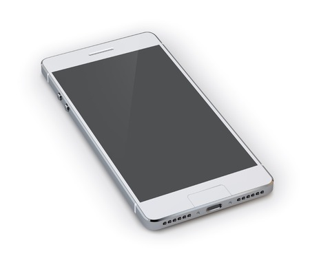 Realistic 3d grey smartphone device isolated on white background vector illustration Vettoriali