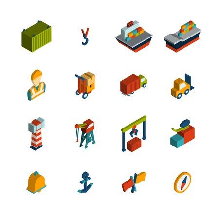 berth: Seaport marine shipping transportation icon isometric set isolated vector illustration