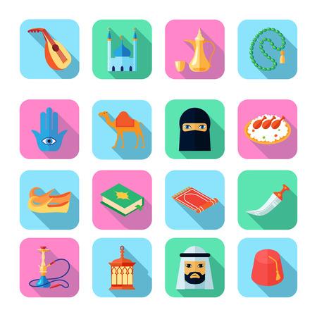 camello: Iconos de la cultura �rabe establecidos con el camello espada s�mbolos koran ilustraci�n vectorial