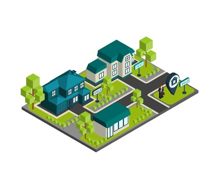 estate agent: Isometric town concept with 3d buildings and real estate agent icons vector illustration