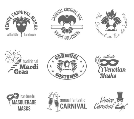 Carnival venetian and brazilian traditional masks and costumes label black set isolated vector illustration Vector