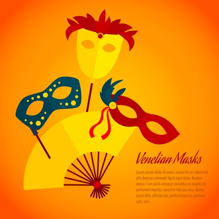 Carnival venetians paper machee  festive masks with hand fan party flat poster placard print abstract vector illustration Vector