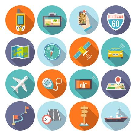 satellite navigation: Iconos planos de navegaci�n establecidas con los s�mbolos del sistema satelital GPS del tel�fono celular abstracto sombra ronda ilustraci�n vectorial aislado