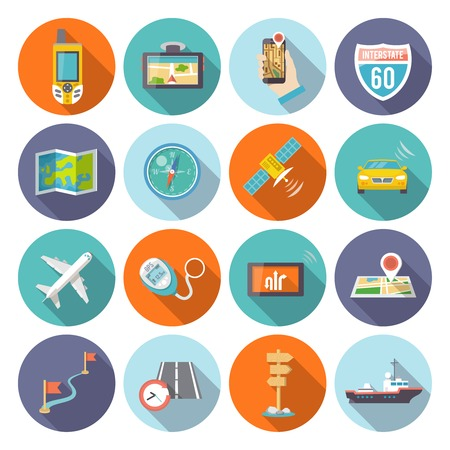 travel phone: Navigation flat icons set with satellite GPS cell phone system symbols round shadow abstract isolated vector illustration Illustration
