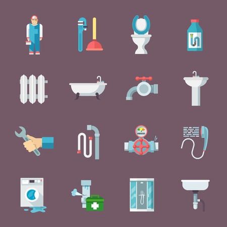desague: Aislado kit de limpieza de tuberías de tuberías y el servicio de reparación de calefacción y desagüe del fregadero iconos planos composición ilustración vectorial Vectores