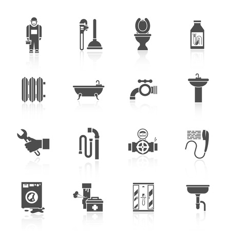 pipe wrench: Home facilities water pipe sections assembly and leakage fixing plumber helper icons set black isolated vector illustration