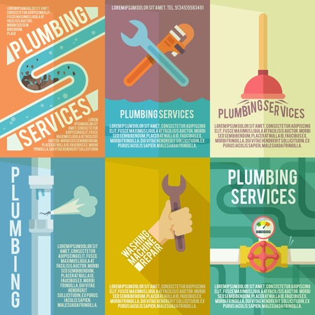 plumbers: Plumber service flat labels composition poster of leakage fixing and washing machines repair abstract isolated vector illustration