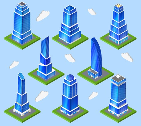 urban planning: Urban building architecture high-rise down town  contemporary office block composition design computer model planning abstract vector illustration