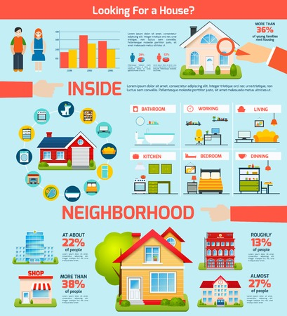zakelijk: Het bouwen van onroerend goed infographics set met huizen interieur vector illustratie