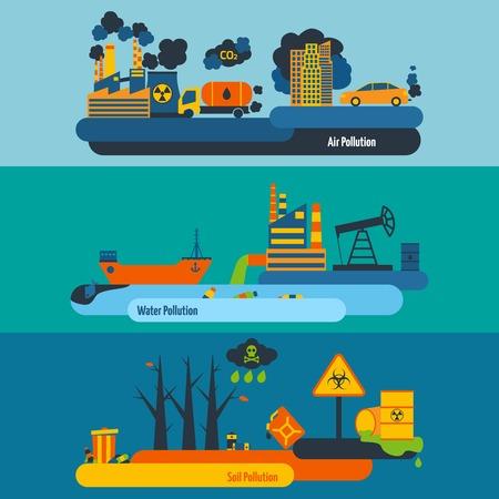 contaminacion del aire: Ecolog�a banner horizontal plana conjunto con elementos de la contaminaci�n del agua en el suelo aire aislado ilustraci�n vectorial