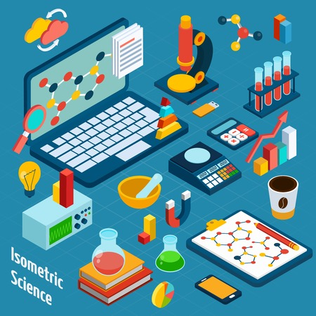 computer scientist: Isometric science workplace concept with computer and 3d chemistry and physics icons vector illustration