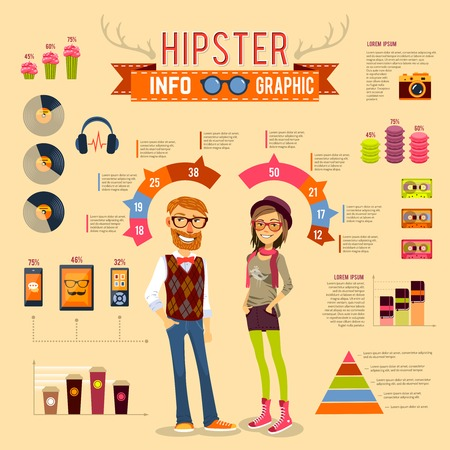 boy girl: Hipster infographic set with boy girl and trendy accessories vector illustration