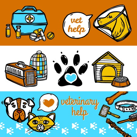cat carrier: Veterinary sketch horizontal banners set with vet help elements isolated vector illustration Illustration