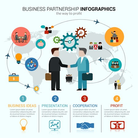 leadership: Business partnership infographics with idea presentation cooperation profit symbols and world map vector illustration
