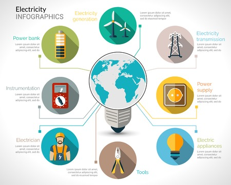 electricidad: Infograf�a Electricidad establecen con equipos de generaci�n de energ�a bombilla el�ctrica y la ilustraci�n vectorial transmisi�n