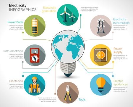 Strom Infografiken mit Glühbirne Energieerzeugungsanlagen und Getriebe Vektor-Illustration gesetzt