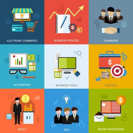 Conceito de negócio definido com o comércio eletrônico ferramentas de contabilidade teamwork ícones isolado ilustração vetorial