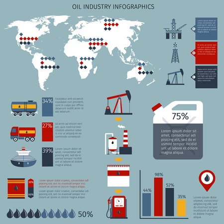 oil industry: Oil industry infographics set with fuel shipping refinery and drilling charts and world map vector illustration Illustration