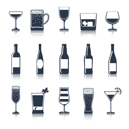 alcoholic drink: Alcoholic drink party bar restaurant icons black set isolated vector illustration