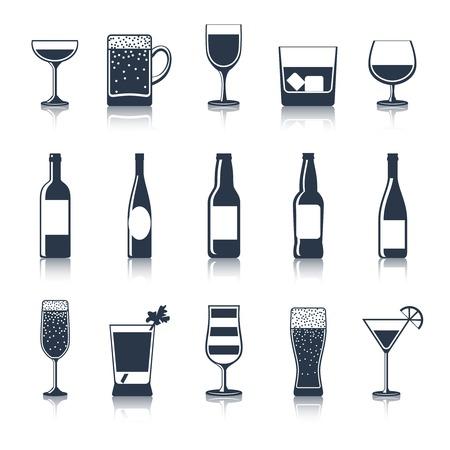 alcool: Bar du parti de boisson alcoolisée restaurant icons noire ensemble isolé illustration vectorielle Illustration