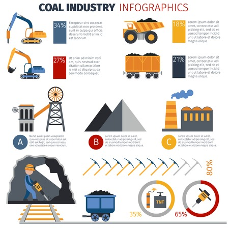 mining: Coal industry metallurgy infographics with manufacture and transportation equipment and charts vector illustration