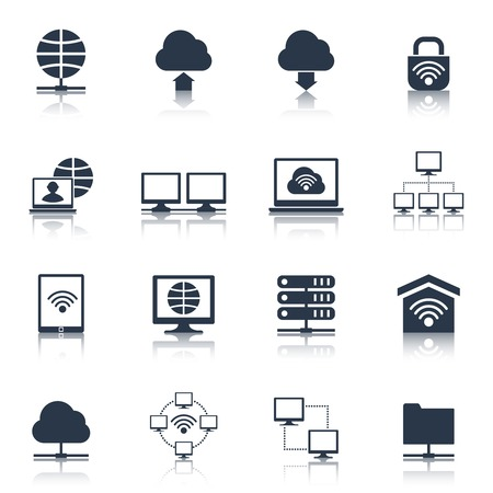ethernet: Network cloud computing wifi connection icons black set isolated vector illustration