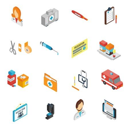 медик: Доктор значок изометрической установить с символы аптека медицинского персонала врач изолированы векторных иллюстраций