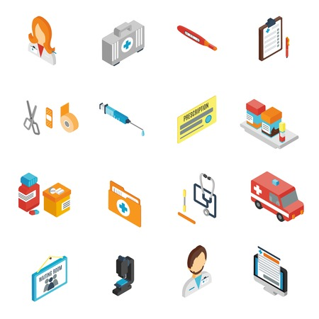 patients: Doctor icon isometric set with pharmacy medical staff physician symbols isolated vector illustration Illustration