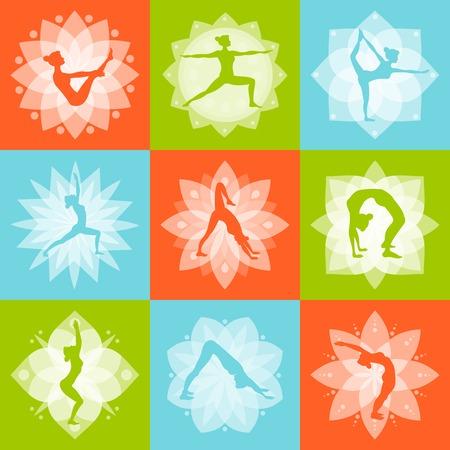 mente: Cuerpo mente Yoga y aptitud de la salud concepto de diseño conjunto aislado ilustración vectorial