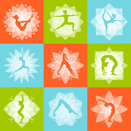 mind set: Yoga mind body and health fitness design concept set isolated vector illustration