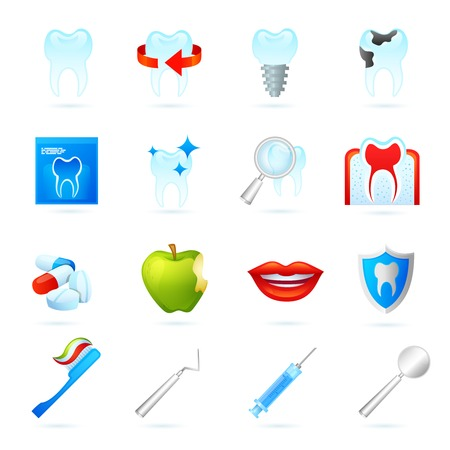 dentist icon: Dental icons set with dentistry surgeon tools cracked tooth and pills isolated vector illustration