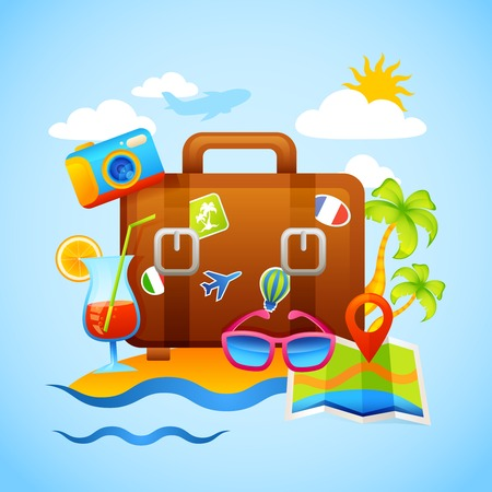 sky dive: Vacation and tourism concept with suitcase and travel and recreation icons vector illustration