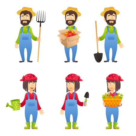 farmer: Farmer cartoon character set with males and females with agriculture equipment isolated vector illustration