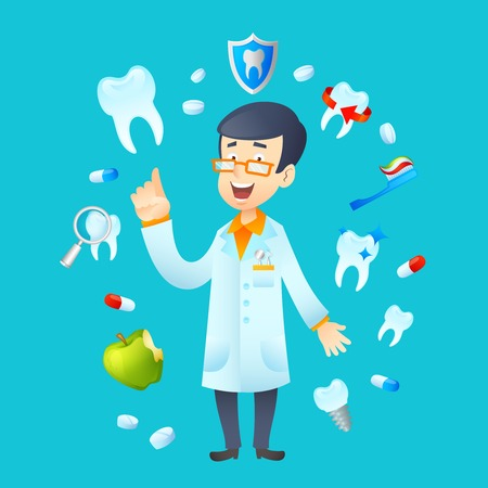 Dentistry concept with dental health instruments and dentist doctor avatar vector illustration