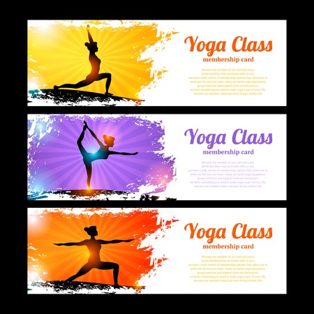 beams: Yoga class horizontal banner set with young women figures in sun beams isolated vector illustration