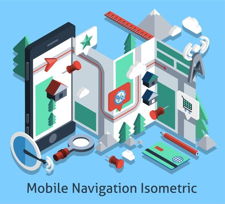 gps navigator: Mobile navigation isometric set with smartphone and gps navigator icons vector illustration