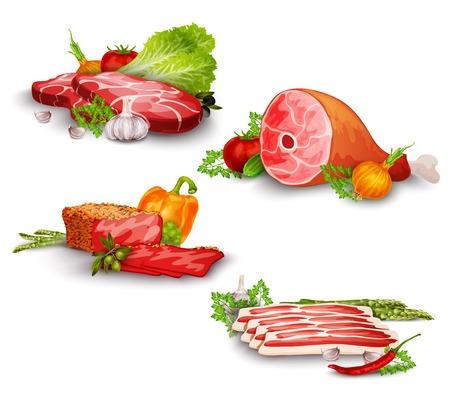 야채 음식 세트 격리 된 벡터 일러스트와 함께 돼지 고기와 쇠고기 스테이크 일러스트