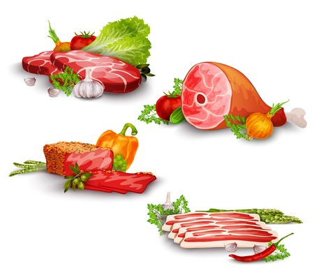 pork meat: Meat pork and beef steaks with vegetables food set isolated vector illustration