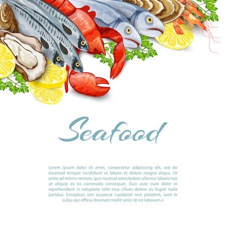 la marinera: Productos del mar de fondo con el camar�n salm�n mariscos cangrejo ilustraci�n molusco vector Vectores