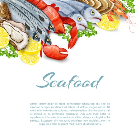seafood background: Seafood products background with salmon shrimp crab shellfish mollusk vector illustration